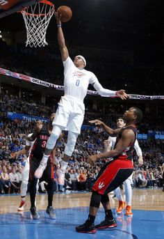 Oklahoma City's Russell Westbrook (0) wear the new Oklahoma City uniform during the NBA game between the Oklahoma City Thunder and the Toronto Raptors at the  Chesapeake Energy Arena in Oklahoma City, Sunday, March 8, 2015. Photo by Sarah Phipps, The Oklahoman