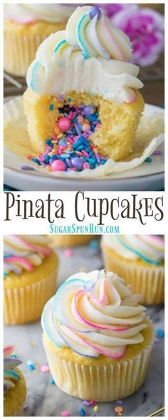 How to Make Pinata Cupcakes! These are so simple to make but they look SO COOL! … How to Make Pinata Cupcakes! These are so simple to make but they look SO COOL! Add your favorite filling and top with a colorfully swirled frosting! via Sugar Spun Run Pinata Cupcakes, Cupcake Cakes, Cheesecake Cupcakes, Easter Cupcakes, Pinata Cake, Fun Cupcakes, Unicorn Cupcakes, How To Make Cupcakes, Baking Cupcakes