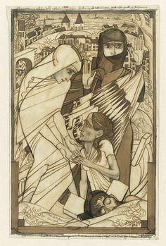De hulpverlening tijdens de watersnood van 1926, symbolisch voorgesteld, Jan Toorop, 1926