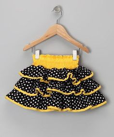 Take a look at this Yellow & Black Polka Dot Ruffle Skirt - Toddler & Girls by Lele Vintage on today! With a cheerful mix of prints, easy-on elastic waistband and flared fit, this tiered skirt will look sweet paired with all sorts of tops. Toddler Skirt, Baby Skirt, Toddler Outfits, Baby Dress, Kids Outfits, Ruffle Skirt, Toddler Girls, Little Girl Skirts, Little Girl Dresses