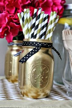 Black, white, gold, bright pink baby shower ideas #party
