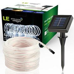 LE® 33ft 100 LED Solar Rope Lights, Waterproof Outdoor Rope Lights, 6000K Daylight White, Portable, LED String Light with Light Sensor, Ideal for Wedding, Party, Decorations, Gardens, Lawn, Patio - http://www.the-solar-shop.com/le-33ft-100-led-solar-rope-lights-waterproof-outdoor-rope-lights-6000k-daylight-white-portable-led-string-light-with-light-sensor-ideal-for-wedding-party-decorations-gardens-lawn-patio/