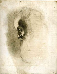 Odilon Redon ~ Rodolphe Bresdin, 1865 (pencil on paper) (Louvre)