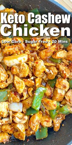 This Easy 20 minute Keto Cashew Chicken makes a yummy low carb dinner any time of the week! Delicious on its own or when served with zoodles or cauliflower rice! recipes chicken recipes crockpot recipes easy recipes for dinner recipes healthy food recipes Low Carb Chicken Recipes, Low Carb Recipes, Diet Recipes, Healthy Recipes, Steak Recipes, Recipes Dinner, Easy Recipes, Cooking Recipes, Chili Recipes