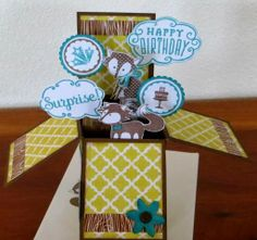 Stamp N Fun Pop-up box card opened up.  www.stampnfun.blogspot.com  Wild about Love stamp set and skylark papers