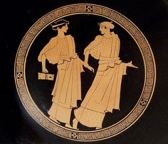 Schoolgirls 460 - 450 BC , image from a terracotta kylix, a drinking cup, showing that education for young women at home or schools was a daily routine in ancient Greece.
