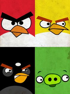 Angry Birds poster;  could be used as a pattern/design for quilting/applique