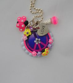 Peace Sign Heart Charm Bottle Cap Jewelry