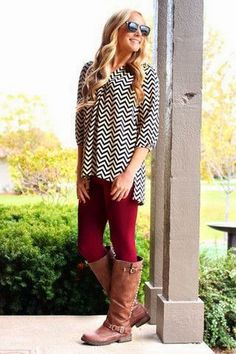Lovely Black and White Stylish Shirt, Red Leggings and Long Boots