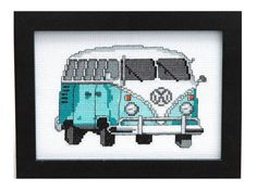 This listing is for a PDF pattern to make a cross stitch Retro Teal & White VW Van on 14-count Aida cloth. This pattern arrives as an Instant