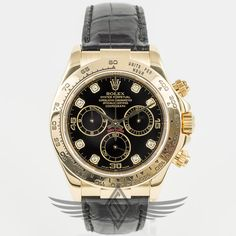 Rolex #Daytona 18K Yellow Gold 40mm Case Black Diamond Dial Black Alligator Strap Gold Deployment Buckle Automatic Chronograph Watch 116518 #OCWatchCompany #WatchStore #WalnutCreek