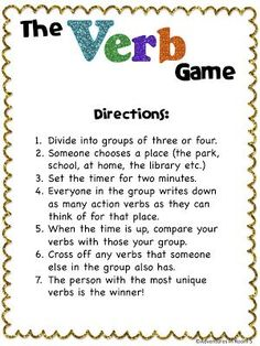 Adventures in Room Verbs! For centers. Different parts of speech // a timer // and different scenarios verb game Grammar Games, Grammar And Punctuation, Grammar Activities, Teaching Grammar, Teaching Language Arts, Classroom Language, Teaching Writing, Writing Activities, Teaching Tips