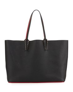 Cabata+East-West+Leather+Tote+Bag,+Black+by+Christian+Louboutin+at+Neiman+Marcus.