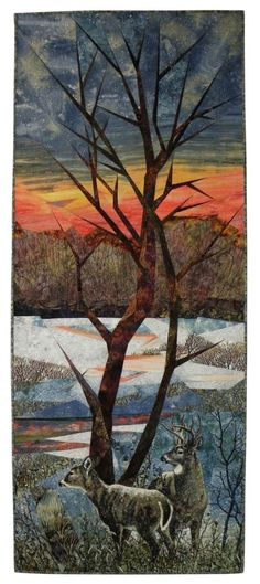 December Dawn by Ruth A. Powers.  SAQA.  Landscape art quilt, machine pieced, machine quilted