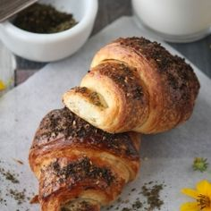 Plain butter Croissants and some with Zatar(middle eastern spice mixture)