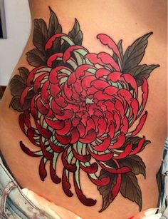 Red chrysanthemum, japanese tattoo