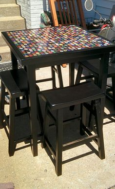 DIY bottle cap table More