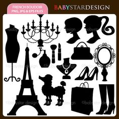 French Boudoir Silhouettes Digital Clipart INSTANT DOWNLOAD