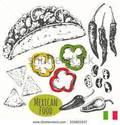 Mexican food in the sketch style. Latins traditional products. Vector illustration of ethnic cooking: tacos, nachos, beans, hot peppers. Main course, snacks and dessert. - stock vector