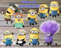 INSTANT DOWNLOAD Despicable Me Minions Printable Birthday Party for Decorations: Centerpiece, Banner, Wall Decor & Iron On Transfer Tshirt on Etsy, $12.56