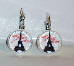 Ohrringe Eiffelturm Glas Modeschmuck Ohrschmuck Damen Hänger Cabochon Neuware
