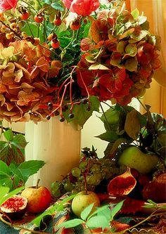 Autumn Fruits by Barbara van Zanten Beautiful Flower Arrangements, Floral Arrangements, Beautiful Flowers, Fall Fruits, Garden Table, Fall Harvest, Mists, Festive, Centerpieces