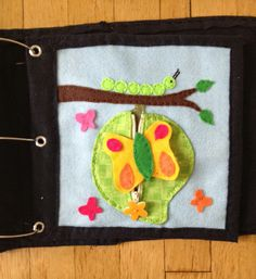 Caterpillar & Butterfly page (the butterfly comes out of a cocoon that has a zipper)