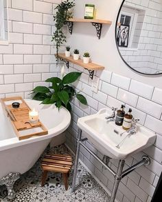 Modern Sculptures For Home Decor Bathroom Inspiration // Golden Fox Cottage.Modern Sculptures For Home Decor Bathroom Inspiration // Golden Fox Cottage Boho Bathroom, Modern Bathroom Decor, Budget Bathroom, Bathroom Renos, Small Bathroom, Bathroom Black, Washroom, Bathroom Cabinets, Bathroom Remodeling