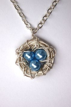 Silver Bird Nest Pendant with Light Blue Glass by BirdieAndDot, $12.00