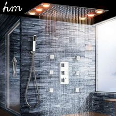 Quality Luxury Shower Set Electric Led Large Rain Shower Head Ceiling Shower Faucet Panel Thermostatic Mixer/ Massage Shower Body Jets with free worldwide shipping on AliExpress Mobile Dream Bathrooms, Amazing Bathrooms, Modern Bathrooms, Ceiling Shower Head, Dream Shower, Shower Set, Shower Faucet Sets, Master Bathroom Shower, Bathroom Showers