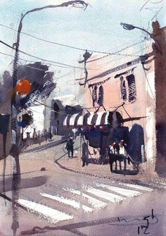 Michael Bennett, untitled New Zealand artist Watercolour Tutorials, Watercolour Painting, Watercolours, Michael Bennett, Art Lessons, Art Boards, New Zealand, Street View, Landscape