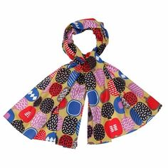 Colorful cut outs of fruits make for a playful pattern, perfect for sprucing up a neutral outfit. Marimekko Kompotti Multicolor Scarf