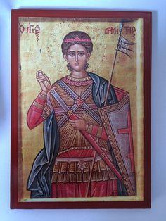 Saint Demetrios handmade Greek orthodox Russian byzantine icon on wood Byzantine Icons, Orthodox Icons, Time To Celebrate, Christianity, Saints, Religion, Greek, Spirituality, Baseball Cards