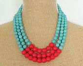 Color Block Necklace Turquoise Blue Howlite and Cherry Red Glass Beads - Preppy, Statement Necklace, Multi Strand
