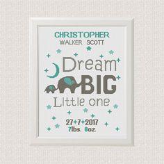 Birth announcement baby sampler Cross stitch elephants pattern