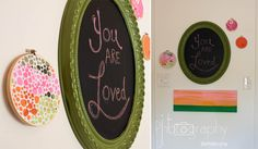 Cute picture frame chalk board and cross stitch circle with fabric for wall decor