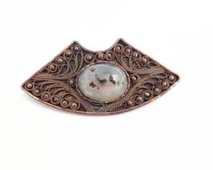 Vintage handmade moss agate copper brooch with overlay of fine wire work by CardCurios on Etsy Moss Agate, Agate Stone, Wire Work, Copper Wire, Vintage Brooches, Absolutely Gorgeous, Overlays, Arts And Crafts, Sterling Silver