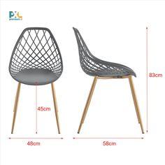 Elegantné a štýlové dizajnové plastové stoličky Warschau ABCS-3505 sa hodia k jedálenskému stolu, do pracovne, haly, či čakárne alebo zasadačky. Výška: 83 cm, šírka: 48 cm, hĺbka: 58 cm, výška sedáku: 45 cm. Sedák: sivý plast (PP), nohy stoličiek: kov, dekor buk. 2 ks balenie, produkt značky [en.casa]