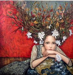 Title unknown -- by MONICA FERNANDEZ Pintero, Mexican; her hair is aflame with autumnal flora [and a few birds]. Art Et Illustration, Illustrations, Art Amour, Art Fantaisiste, L'art Du Portrait, Portraits, Frida Art, Mexican Artists, Arte Popular