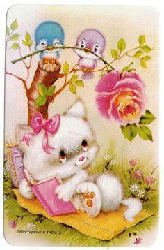 vintage SWAP CARDs 1970s blank back CUTE CATS KITTENs & love birds