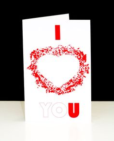 I Heart You Valentine's Day Romantic Love Card by AnniesArtBook, $3.50