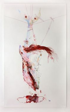 Christophe Chemin, Crucifixion, 2008, Color pencil on paper, 250  x 150 cm