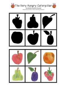 The Very Hungry Caterpillar Shadow Match FREEBIE! - visit www.littlelearninglane.com for more fun ideas & free printables!