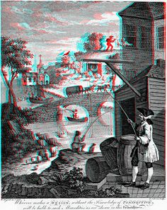 Satire on False Perspective by William Hogarth 3D anaglyph