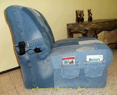 old jeans → chair cover. Would be good for a man cave or game room