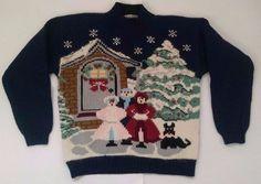Karen Scott Christmas Carolers Sweater PM Petite M Navy Blue Wool Angora Blend  #KarenScott #TurtleneckMock #Holiday