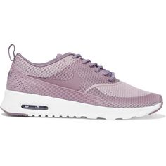 Nike Air Max Thea mesh sneakers ($130) ❤ liked on Polyvore featuring shoes, sneakers, nike, pink, lace up shoes, nike shoes, lightweight shoes and lacing sneakers