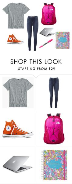 """""""Clothes for middle schooler's"""" by oliviabargatze on Polyvore featuring J.Crew, J Brand, Converse, The North Face, Lilly Pulitzer and Sharpie"""