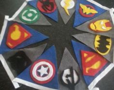Handmade superhero style felt bunting party banner superman batman ironman spiderman wonderwoman avengers wonderwoman