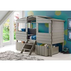 Donco Kids Rustic Grey Finished Pine Wood Twin Tree House Loft Bed with Under-bed Drawers (Twin Storage in Rustic Grey)